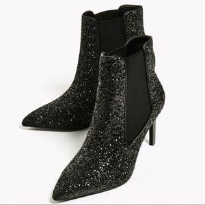 Zara Trafaluc Meteor Black Glitter Heel Booties 37